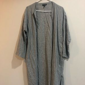 Eileen Fisher, grey blue button up long tunic